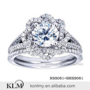 Wholesale jewely: WSS021 Flower Design Micro Pave 925 Sterling Silver Wedding Diamond Ring China CZ Ring Wholesale Jew