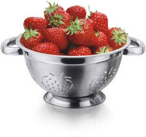 Wholesale Colanders: German Colander with Strawberry Cutting & Riveted Pipe Handle