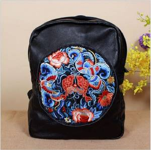 Wholesale genuine leather bags: Cow Leather Backpack Women Embroidered Backpacks 100% Genuine Leather Shoulder Bag