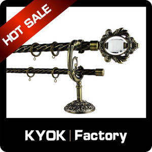 Wholesale curtain rod: KYOK China Made Cheap Good Quality Electroplated Cheap Iron Hign End New Design Curtain Rod