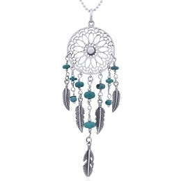 Wholesale Silver & Sterling Silver Jewelry: Turquoise Dream Catcher Silver Pendant
