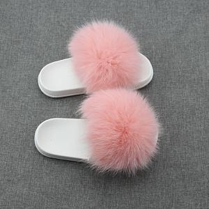 Wholesale Quilting Machinery: Real Fox Fur Slides Footwear Genuine Fur Sandals Shoes Women