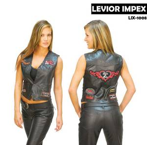 Wholesale leather patch: Women's Patched Lady Rider Leather Vest