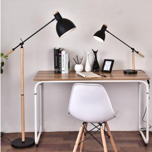 Wholesale led lamp lighting: Wooden Handle Adjustable Arm Desk Light LED Bulb Office Architect Table Lamp