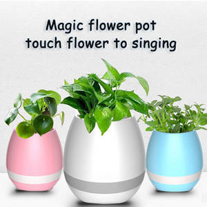 Wholesale mini host: Bluetooth Magic Smart Touching Music Flowerpot LED Light Music Flower Pot Vase