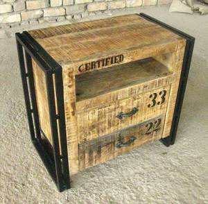 Wholesale Antique & Reproduction Furniture: Industrial Chic Bed Side Cabinet