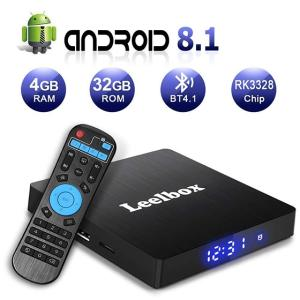 Android 8.1 TV Box, Leelbox Q4 S 4GB+32GB Quad Core Smart TV Box Support BT 4.1/2.4GHz WiFi/4K/H.