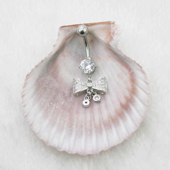 High Quality Belly Grade 3A Lovely Bow Navel Ring Fashion Belly Sexy Body Piercing Jewelry