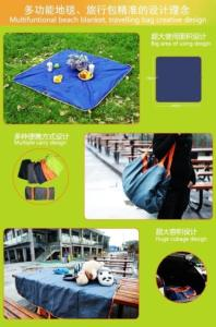 Wholesale happy kids toy: LihongTec Multi-Functional Waterproof Foldable Picnic Blanket Tote Bag