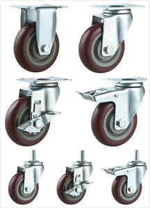 Wholesale Furniture Casters: Dark Red PU Caster Round Tread with Double Ball Bearing Fixed Swivel Brake Threaded Stem