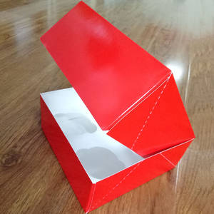 Wholesale Cake Boxes: Red Ivory Board Cupcake Box