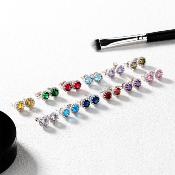Colorful Birthday Stone Month Ear Stud Accessory