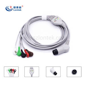 Wholesale cardiology: Biolight Nellcor NIHON KOH 5 Lead ECG EKG Cable One Piece Series Patient Monitor Cable Snap AHA