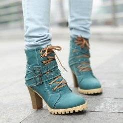 Wholesale fashion buckle: Wholesale Fashion Stylish Boots with Buckle Z-FF9902 Blue
