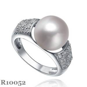 Wholesale Necklaces: 925 Silver with Pearl and Cz Ring