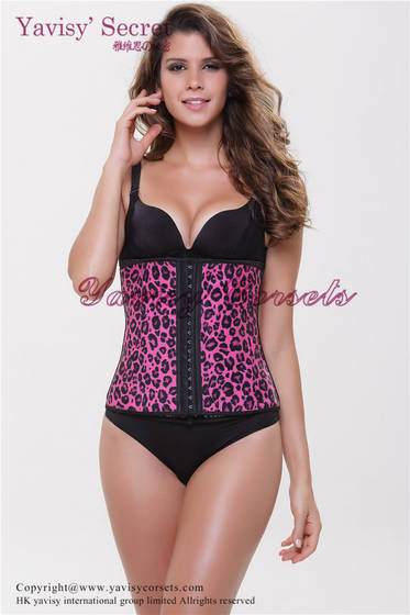 Underwear: Sell purple color leopard printing slimming waist cincher body shaper