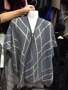 Wholesale Kimonos: Stripe Checked Wool Alpaca Open Front Blanket Poncho Kimono Cape Gray