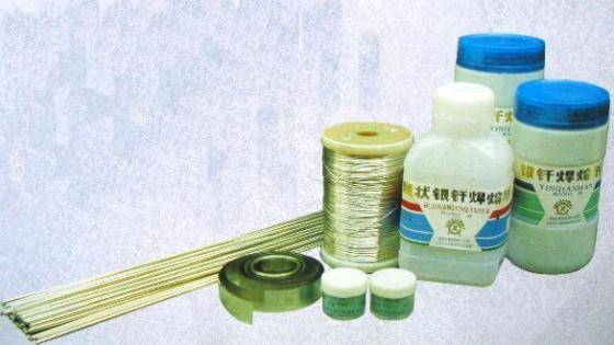 Silver brazing material and flux