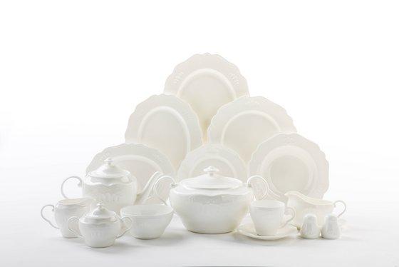 Embossed White Bone China Dinnerware