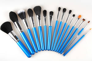 Wholesale professional makeup brush: MAANGE Banded Cosmetic Makeup Case 12pcs Professional Makeup Brush Set with Sky Color