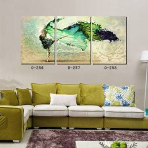 Wholesale portrait: New Arrival Modern Abstract Portrait Oil Painting Dancing Girl in Green Dress Canvas Giclee Prints
