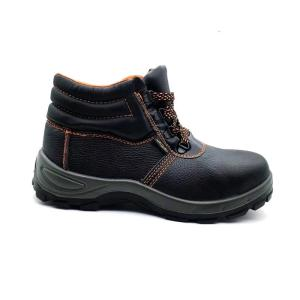 Wholesale pu shoes: Middle Cut Style Embossed Leather PU Outsole Safety Workers Shoes