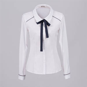 Wholesale 2015 latest style: 2015 Latest Style Wholesale Ladies Shirt|Office Uniform Cotton White Shirt for Women Blouse with Rib