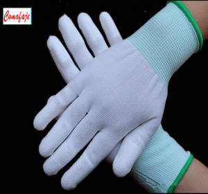 Wholesale pu coated gloves: PU Fingertip Coated Gloves Cleanroom Protect Gloves Top Fit Antiskip Gloves