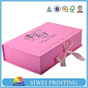 Wholesale cardboard box: Luxury Cardboard Hair Extension Packaging Box with Ribbon