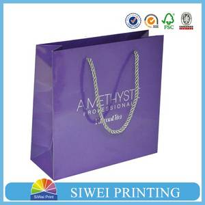 Wholesale cosmetic bag: Logo Silver Stamped Cosmetic Products Packaging Paper Bag