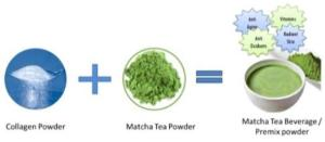 Wholesale matcha: Matcha Collagen Powder (50 Gm Pouch). Made in Japan.