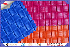 Wholesale Synthetic Leather: square lattice designs imitation leather for bags