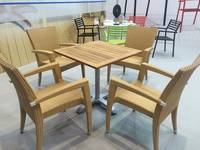 Sell teak top table and PE rattan chair