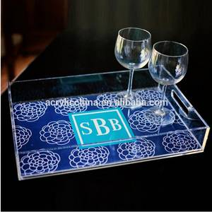 Wholesale custom trays: Custom Clear Acrylic Serving Tray Wholesale