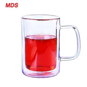 Wholesale clear beer pitcher: Hand Made High Borosilicate Glass Dual Cup with Handle Wholesale