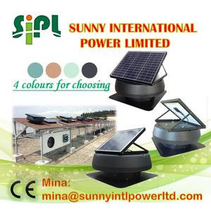 Wholesale solar energy panels manufacturer: High Efficient! 24 Hours Working Solar Powered Air Extractor Heat Removing Attic Ventilation Fan