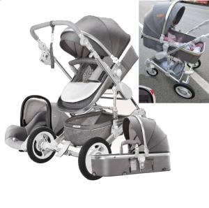 Wholesale seat: Luxury Baby Stroller 3 in 1 High View Pram Foldable Pushchair Bassinet&Car Seat