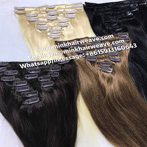 Wholesale remy hair extension: Mink Hair Clip in Hair Extensions Brazilian Remy Hair