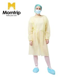 Wholesale knitted elastic fabric: Medical Laboratory Impervious Disposable Yellow Isolation Sterile Gown