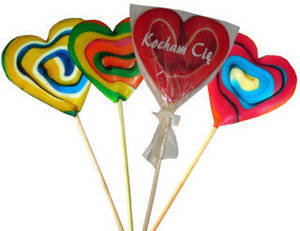 Wholesale Lollipops: Heart-shaped Hard Candy Lollipop 60g