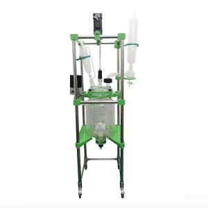 Wholesale double jacket kettle: 10L Lab Chemical Mixing Reacor Price, Lab Vacuum Double Layer Glass Reactor