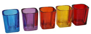 Wholesale tealight holder: Colored Glass Candle Holder
