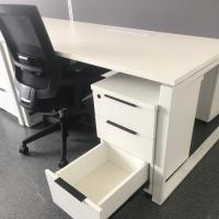 White Workstation Office Desk with Locking Drawers Customized for Germany Company