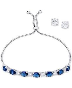 Wholesale silver earring stud: Sapphire Slider Bracelet & Cubic Zirconia Stud Earrings Set in Silver-Plate