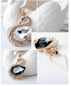 Wholesale brooch: Wedding Swans Crystal Necklace Crystal Earring Crystal Brooch