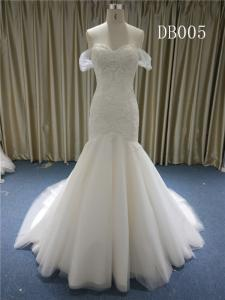 Wholesale wedding gown: Off Shoulder Lace with Beading Wedding Gown Lace Up Back Bridal Gown