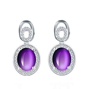 Wholesale plastic packing pouch: Fashion Women Cubic Zirconia Jewelry Amethyst Earrings 925 Sterling Silver Studs Earrings