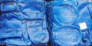 Wholesale regrind: HDPE Blue Drum Scrap Bales, HDPE Drum Regrind, Blue Plastic Drum Regrind, HDPE Drum Scrap Bales