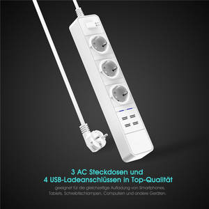 Wholesale smart desk lamp: C723 Office Home 3 AC 4000w Eu Plug Power Strip with 4 Ports 4.6a USB Charger Power Socket 1.8m