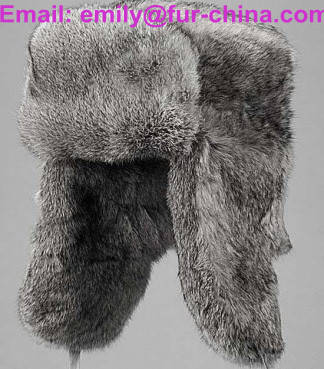 style: Sell Russian Style Grey Color Rabbit Fur Hat